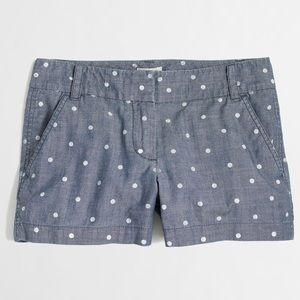 J.Crew Dotted Chambray Shorts Sz 4 Blue ⭐️